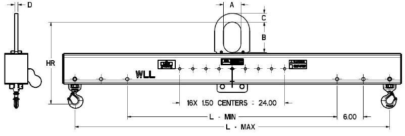 Adjustable Length Lifting Beam With Swivel Hook Bottoms